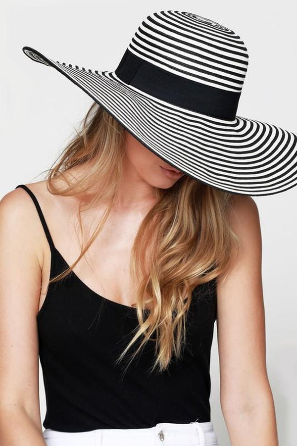 Straw Wide Brim Sun Hat With Black Ribbon