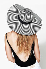 Load image into Gallery viewer, Straw Wide Brim Sun Hat With Black Ribbon