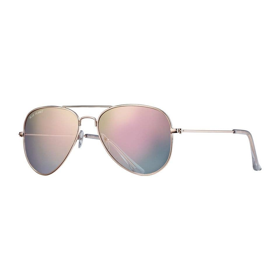 Blue Planet Eco-Eyewear - Wright II - Gold / Gradient Pink Mirror Polarized Lens