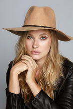 Load image into Gallery viewer, Wool Felt Wide Brim Panama Hat with Suede Braided Ribbon Accent