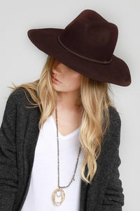 Wool Felt Wide Brim Panama Hat with Suede Braided Ribbon Accent