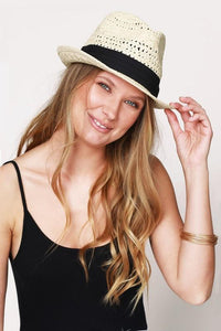 Classic Fedora With Black Ribbon Accent