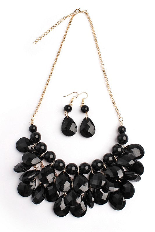 Teardrop Bubble Bib Necklace and Earrings Set
