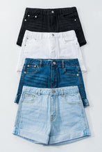 Load image into Gallery viewer, Washed Denim Shorts with Folded Hem