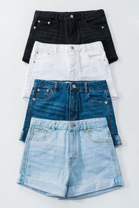Washed Denim Shorts with Folded Hem