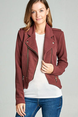 Double Zip Cropped Moto Jacket