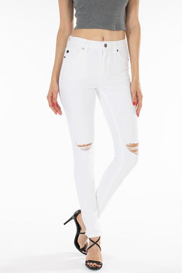 White High Rise Distressed Skinny Jeans