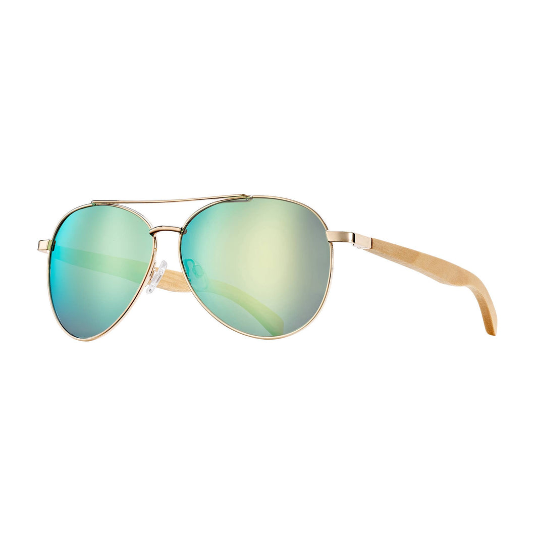 Blue Planet Eco-Eyewear - Amador - Matte Gold / Beechwood / Green Mirror Polarized
