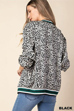 Leopard Print Bomber Jacket with Contrast Hem Stripes
