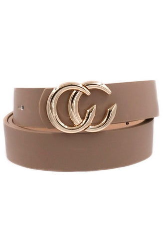 Faux Leather Taupe Belt