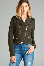 Load image into Gallery viewer, Double Zip Cropped Moto Jacket