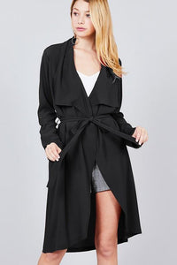 Knee Length Woven Belted Jacket
