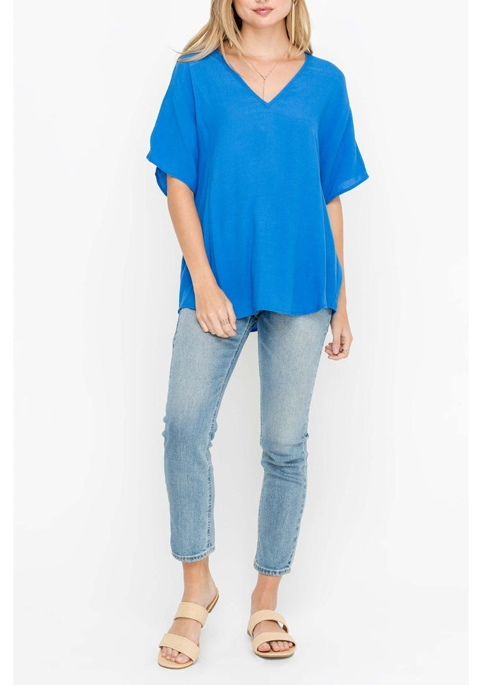 Blue V-Neck Blouse
