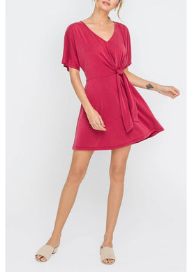 zFront Tie V-Neck Knit Dress