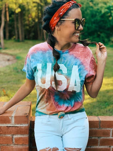 PREORDER Acid Wash Tie Dye USA T-Shirt