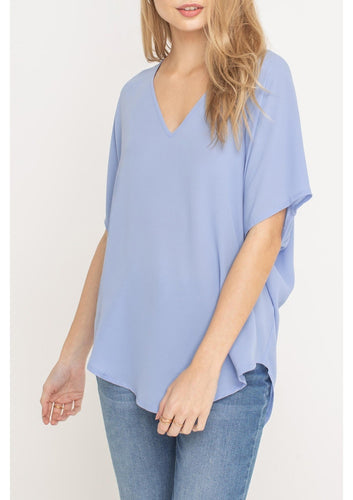V-Neck Oversize Blouse Tee - More Colors Available