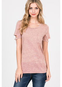 Pink Mineral Washed Pocket Tee