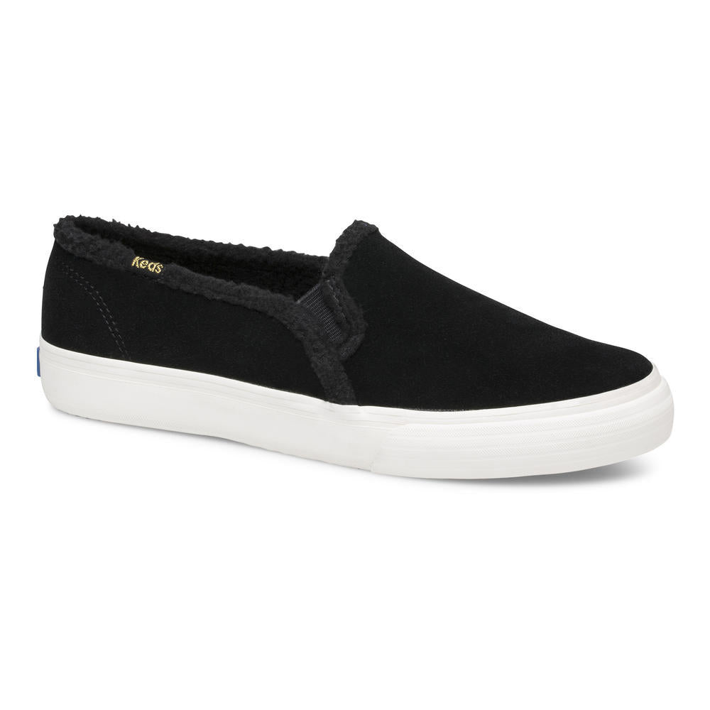 Keds Double Decker Black Suede Faux Shearling Slip On Sneaker