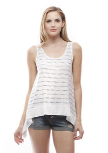 White and Grey Striped Tank Top
