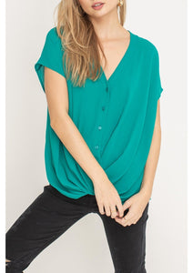 Teal Button Down Wrap Woven Top