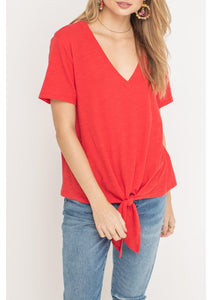 Tie Front V-Neck Tee - More Colors Available