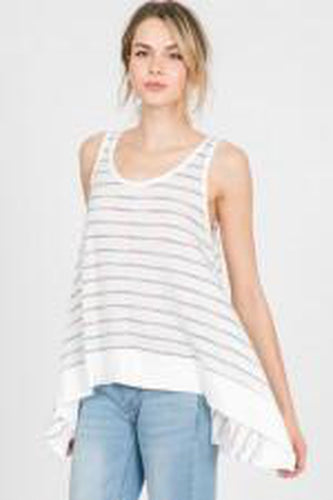 Striped Sharkbite Tank with Banded Hem