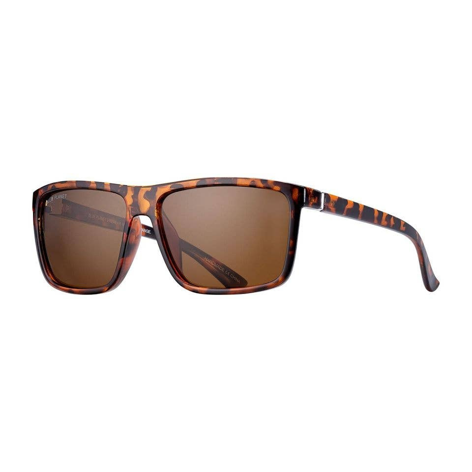 Blue Planet Eco-Eyewear - Landen - Walnut Tortoise + Silver / Brown Polarized Lens