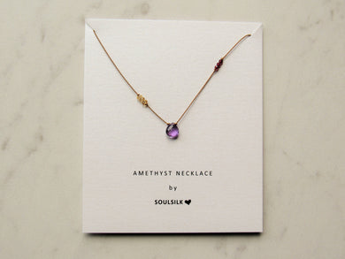Soulsilk - Amethyst with Citrine and Garnet Silk Necklace Card
