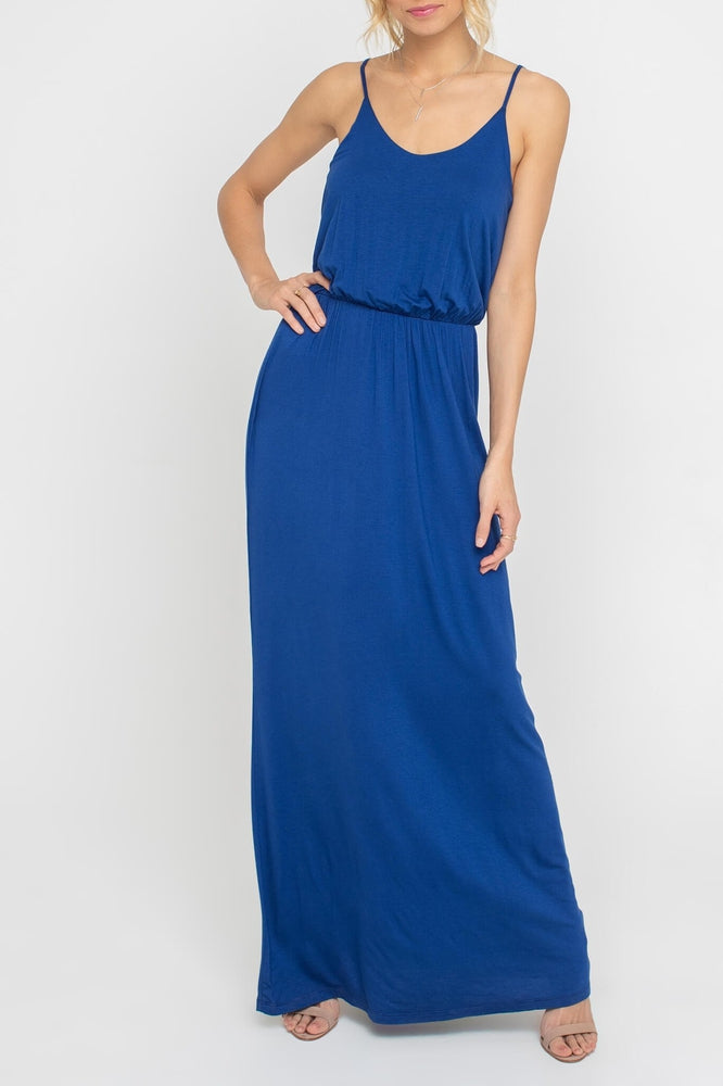 Strappy Ruched Waist Maxi Dress - More Colors Available