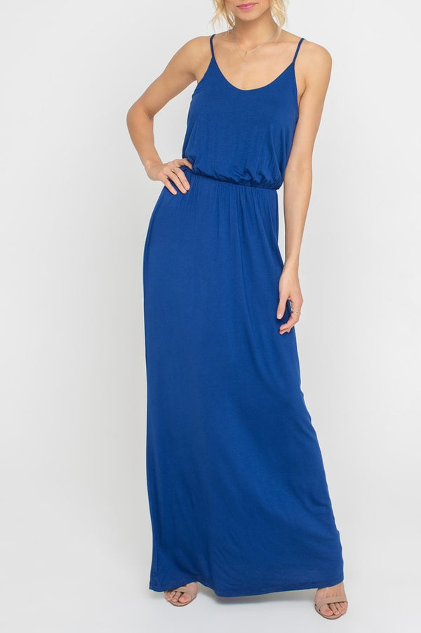 Strappy Ruched Waist Maxi Dress