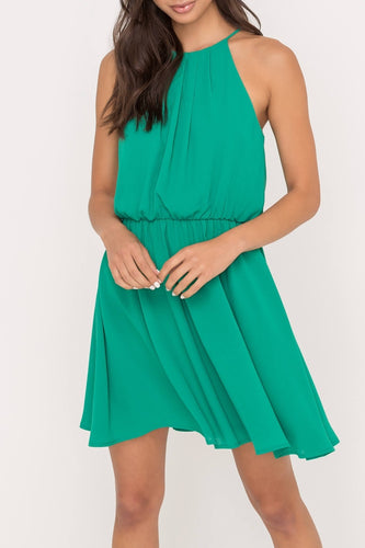 Skater Mini Dress with Pleated Neckline