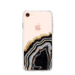 The Casery - Black & Gold Agate iPhone Case