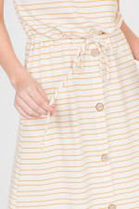Striped French Terry Dress with Buttons