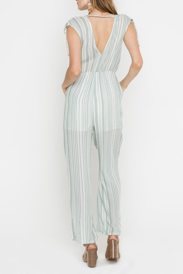Sleeveless Striped Jumpsuit with Shoulder Ties