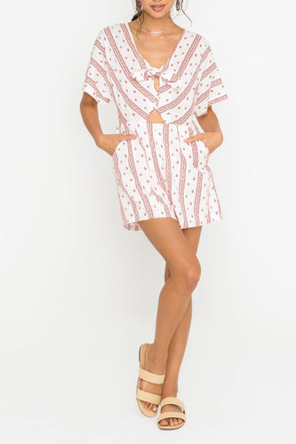 Short-Sleeved V-Neck Romper