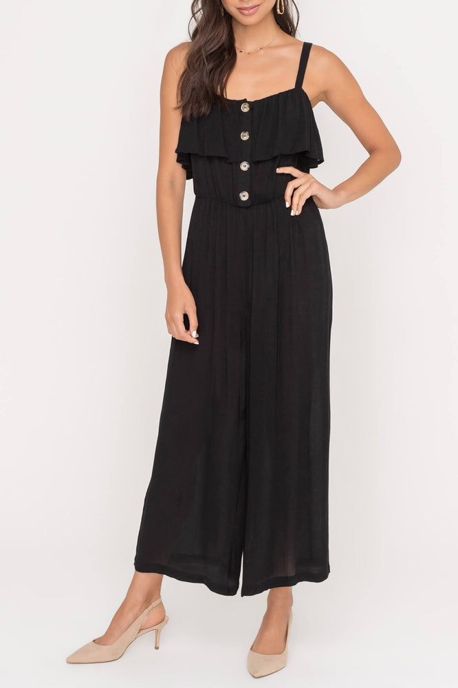 Ruffle Jumpsuit with Buttons