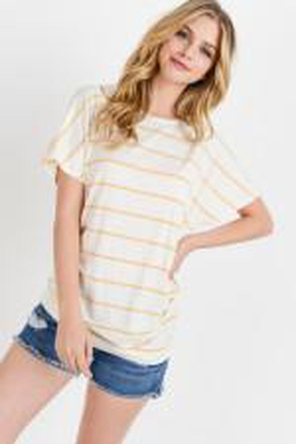 Striped Slub Button Detail Drop Shoulder Tee