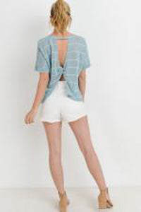 Striped Boxy Open Back Short-Sleeve Sweater Top
