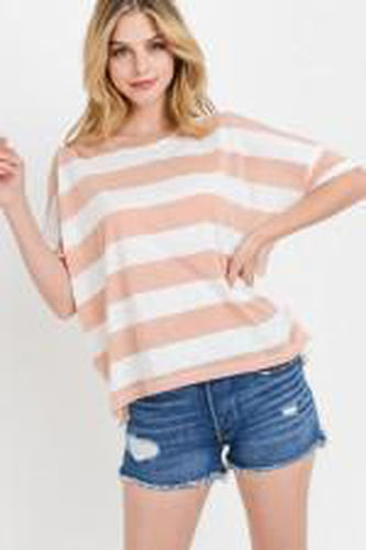 Striped Jersey Boxy Back Slit Top