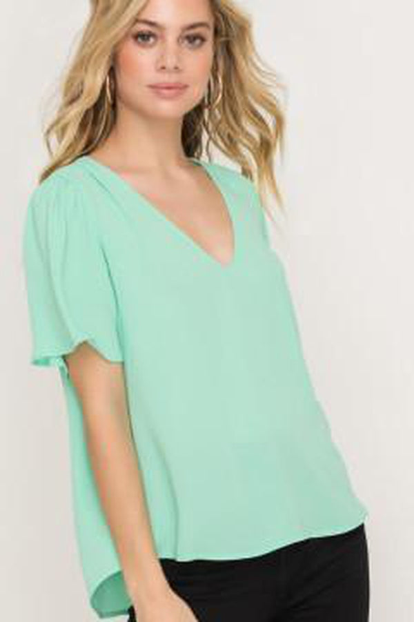 Puffed Flutter Sleeve V-Neck Cropped Blouse