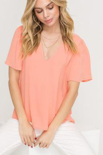Puffed Flutter Sleeve V-Neck Cropped Blouse - More Colors Available