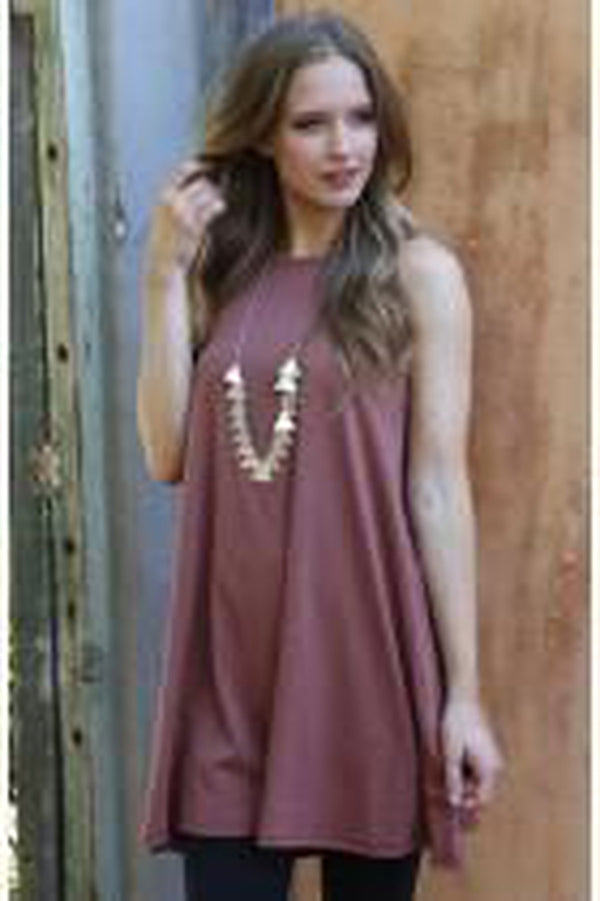 Knit High-Neck Dress with Spaghetti Straps