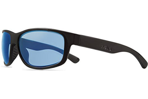 Revo Baseliner RE 1006 01 BL Polarized Wrap Sunglasses, Matte Black/Blue Water, 61 mm