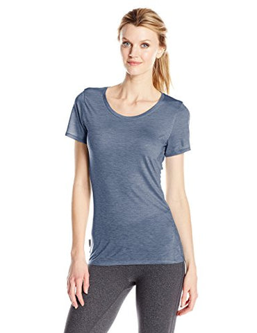 Icebreaker Merino Women's Cool-Lite Sphere Short Sleeve Low Crewe T-Shirt, Gumtree/Snow/Stripe, X-Small
