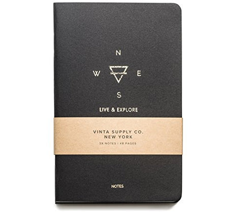 Explore Notes - Travel Notebooks - Black 3-Pack