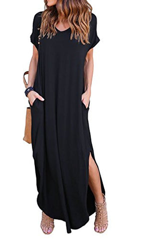GRECERELLE Women's Casual Loose Pocket Long Dress Short Sleeve Split Maxi Dress Black S