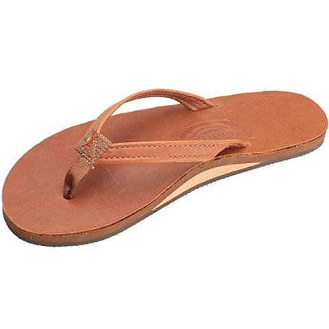 Rainbow Sandals Women's Narrow Strap Flip-Flops,Brown,X-Large