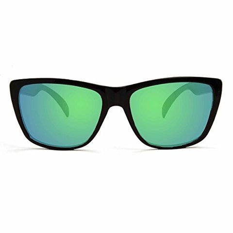 KZ Polarized Floatable Classic Wayfarer Sunglasses (Matte Black Frame, Green)