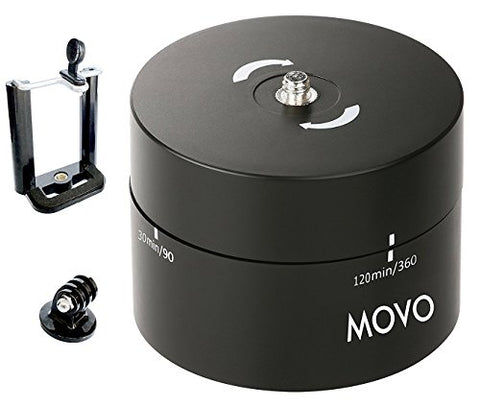 Movo Photo MTP2000 Panoramic 360°/ 120-Minute Time Lapse Tripod Head for Cameras, DSLR's, GoPro's and Smartphones (Supports up to 4.4 LBS)