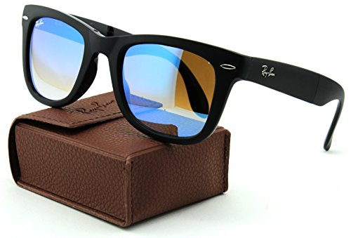 22aaf23551d Ray-Ban RB4105 Folding Wayfarer Gradient Unisex Sunglasses (Matte Black  Frame Mirror Gradient